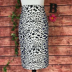 Worthington Skirt Large Blue Black Leopard Pencil
